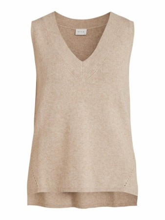 VIRIL KNIT VEST NATURAL MELANGE
