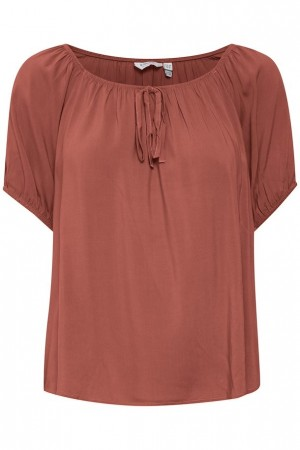 MMJOELA SS BLOUSE ETRUSCAN RED