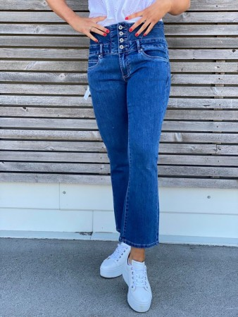 ANGELINA FLARE CROPPED JEANS BLUE